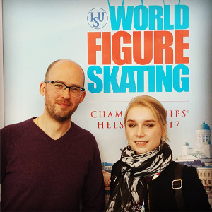 The Skating Music Guy with Viveca Lindfors at Worlds 2017